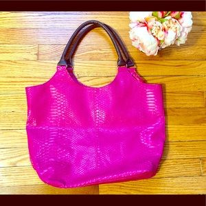 Neiman Marcus Hot Pink Faux Snake Skin Tote